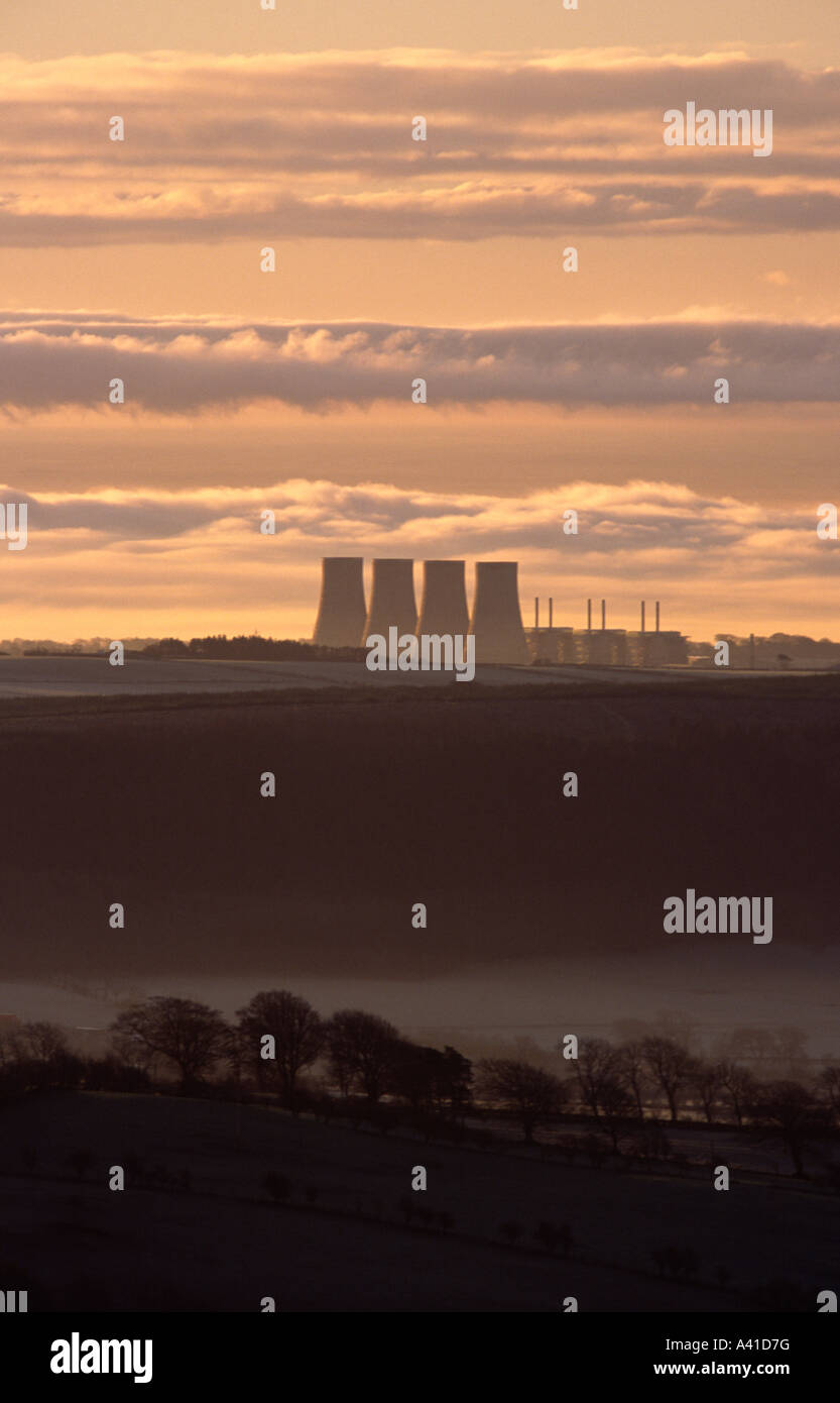Sunrise looking down on the cooling towers of Chapelcross Nuclear Power Station, Annandale, Dumfries and Galloway, - Stock Image