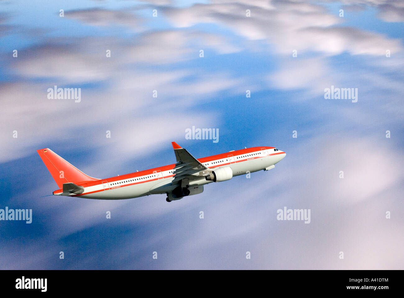 Plane Airbus A330 200 over Ocean Digitally altered - Stock Image