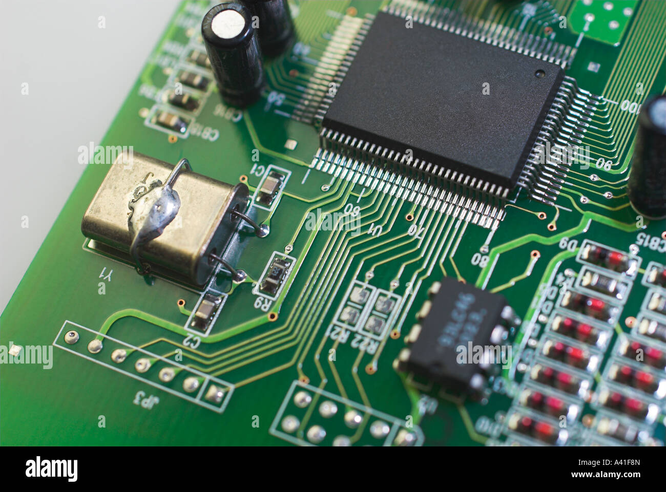 Inside a circuit board - Stock Image