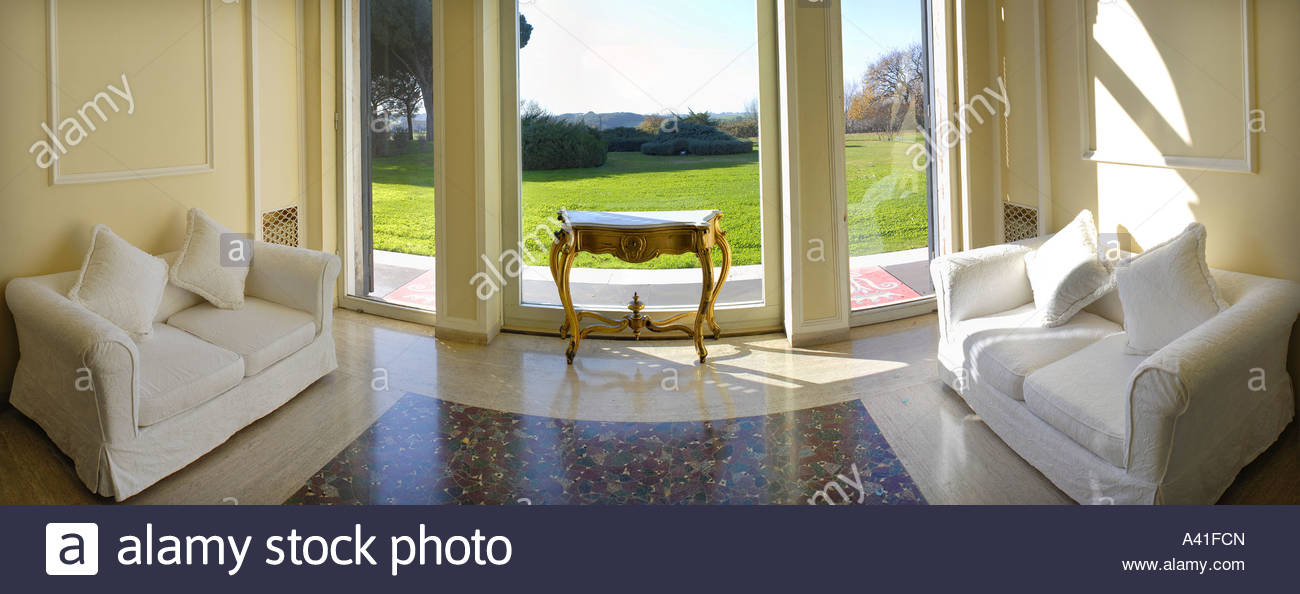 Couches in lobby lounge - Stock Image