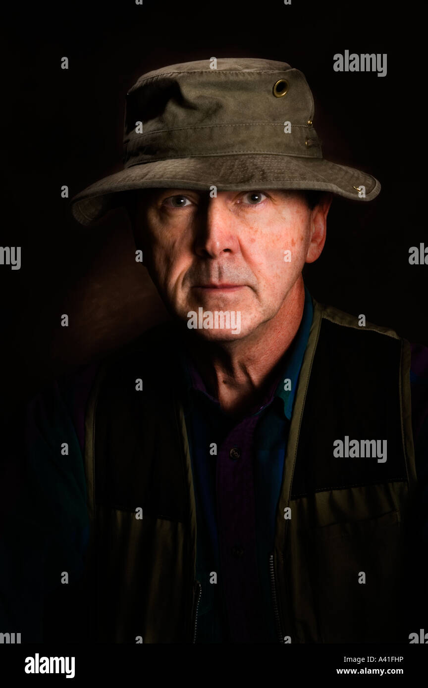 ab6b590fd1547 Portrait of a man in an olive green boonie hat - Stock Image