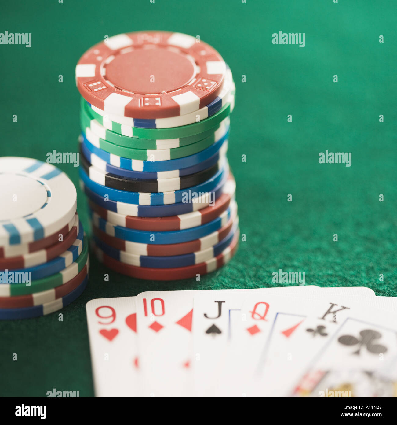 Still life of a poker game - Stock Image