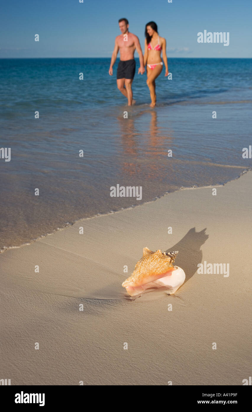 Couple walking the beach - Stock Image