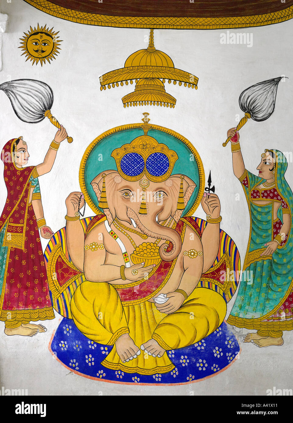 Wall painting of Lord Ganesha in Udaipur in India - Stock Image