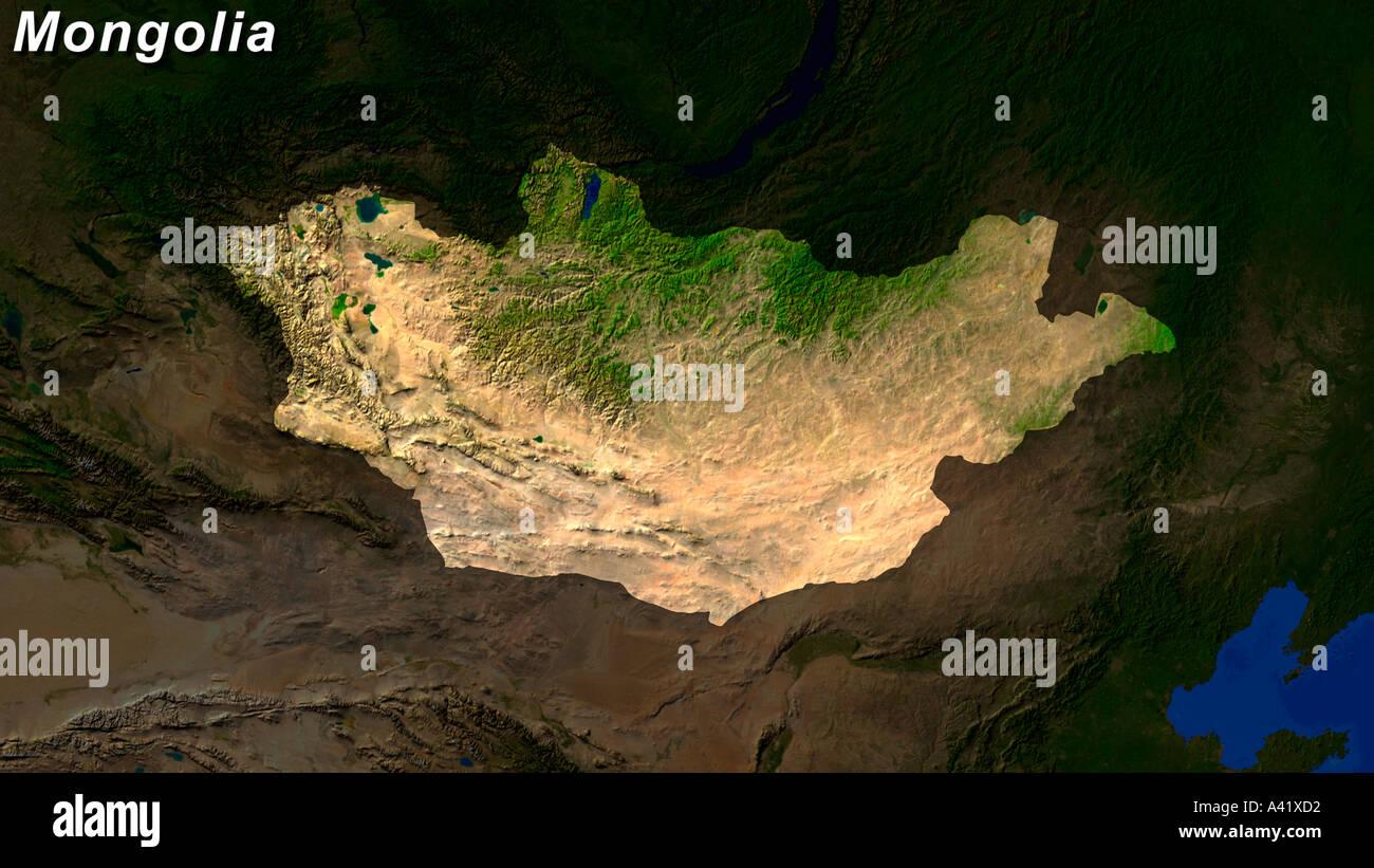Satellite Image Of Mongolia Highlighted - Stock Image