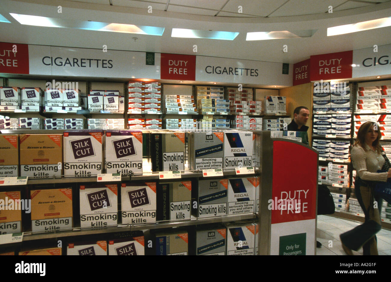 7ea59af40daf Duty free cigarettes perfume tobacco on sale air side Gatwick airport BAA  British Airports Authority London