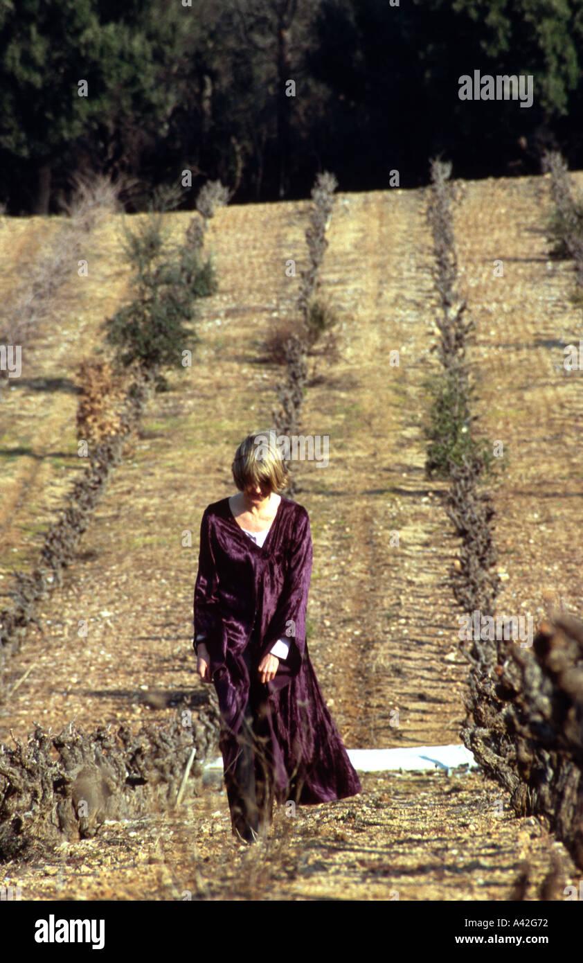 woman girl female 45 yrs old purple robe walking in winter vineyard ...