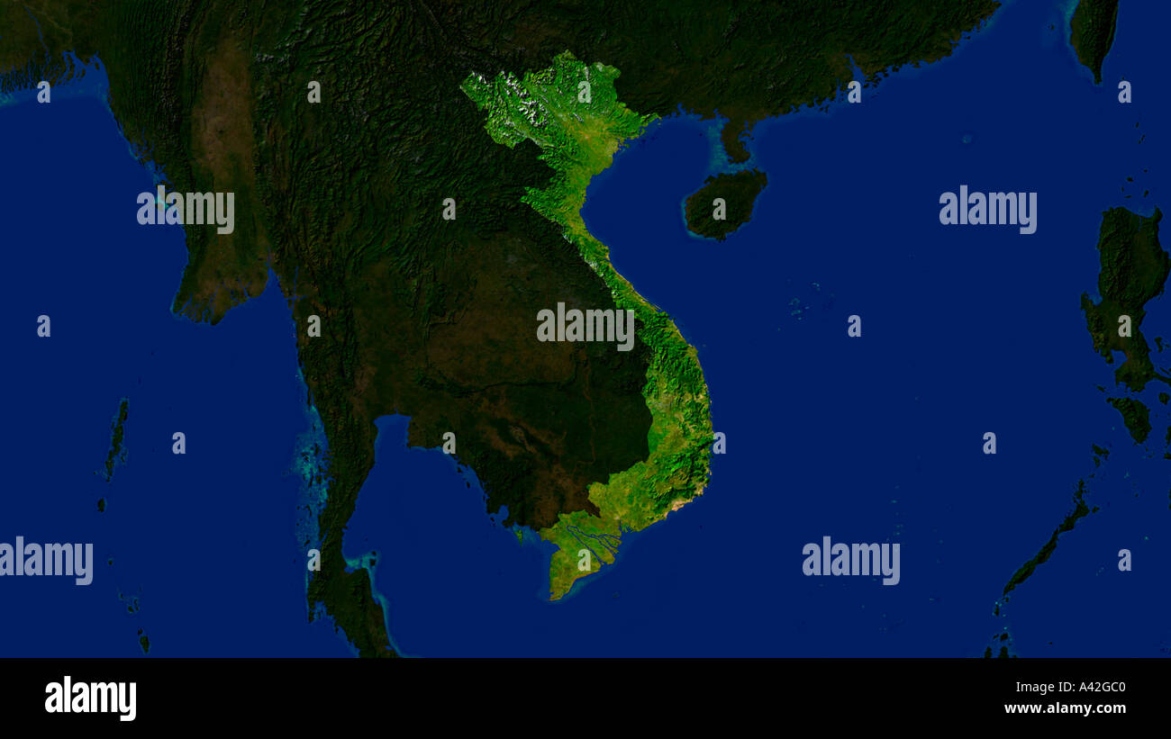 Map satellite geography vietnam stock photos map satellite satellite image of vietnam highlighted stock image publicscrutiny Images