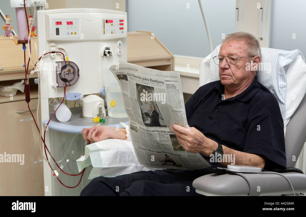 Patient during his dialysis in the dialysis centre in the