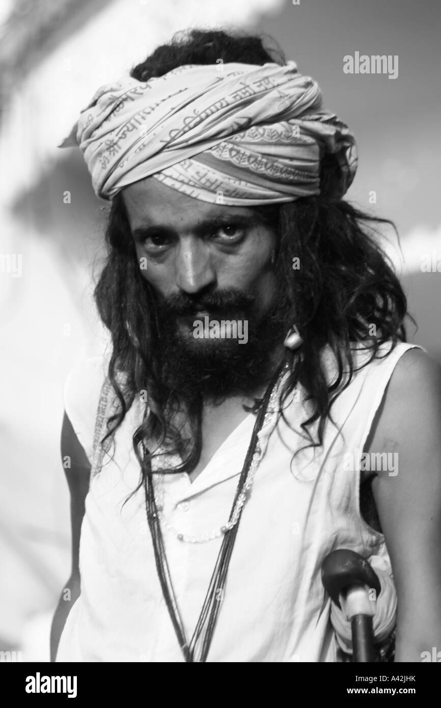 Hindu Sadhu at his meditation hideout at Rishikesh Uttranchal, India Stock Photo