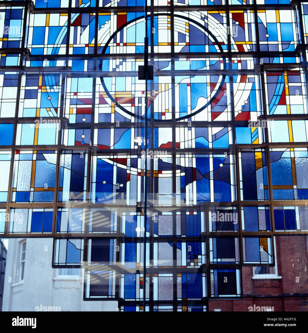 Image of: Close Up Of Modern Blue Stained Glass Window In The Putney Exchange Stock Photo Alamy
