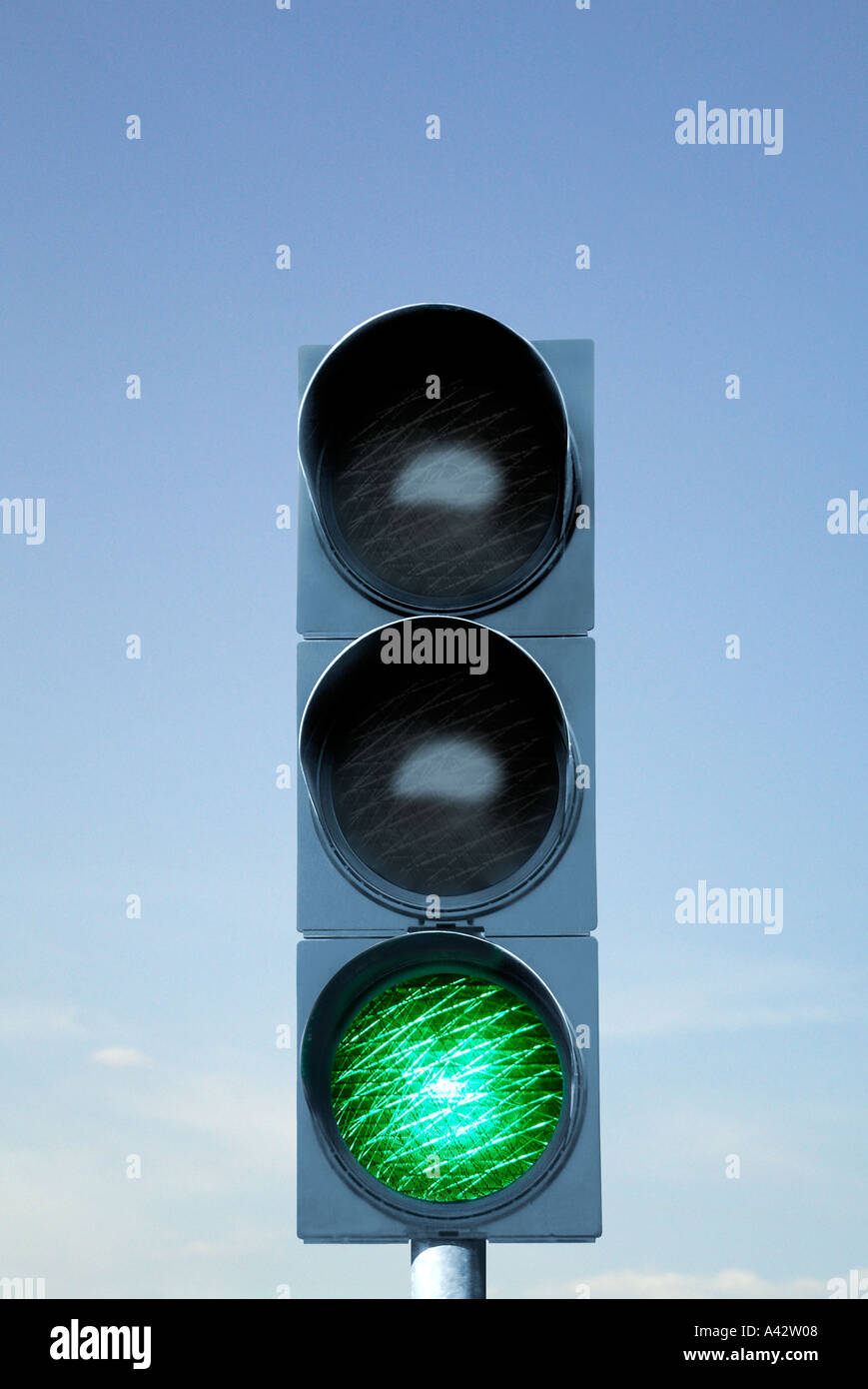 Traffic light device before blue sky Ampelanlage vor blauem Himmel Stock Photo