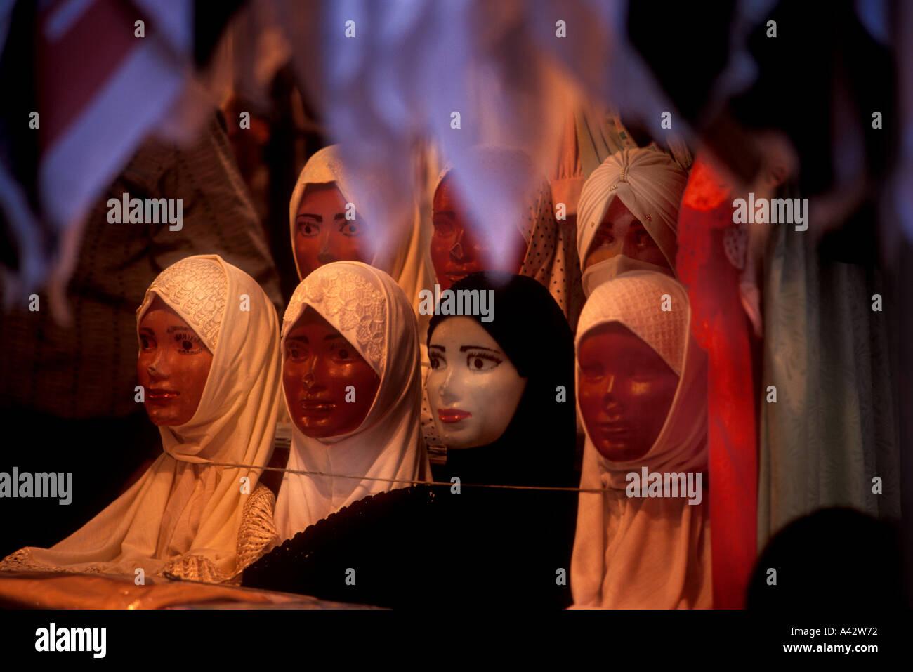 Islamic hijab window display Damascus souk Hamadiya - Stock Image