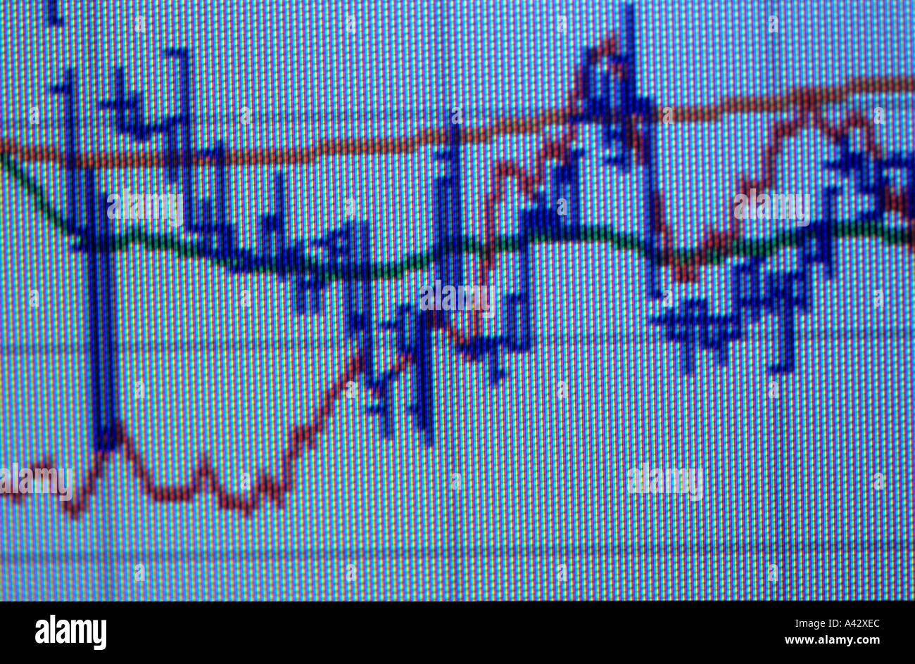 stock exchange curves - Stock Image