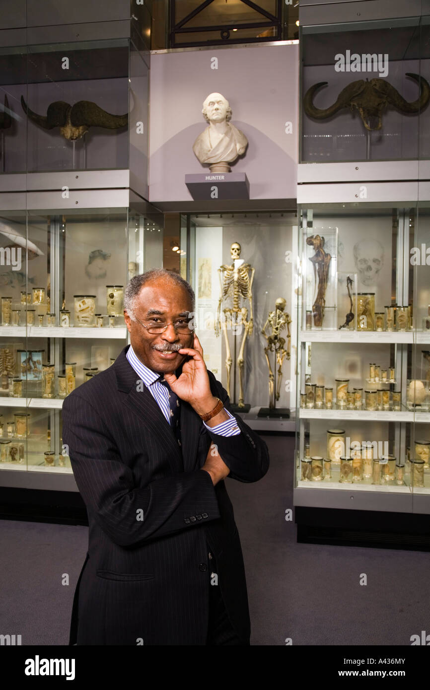 Lord Bernard Ribeiro, former President of The Royal College of Surgeons pictured in the Crystal Gallery of the Hunterian Stock Photo