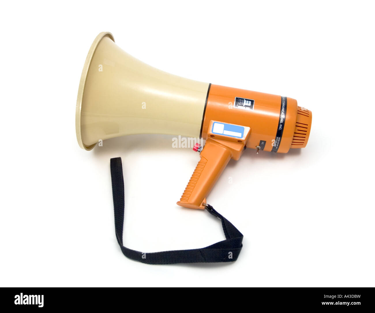 Loud Hailer or Megaphone, like a movie director would use, against a white background i.e. Deepetched - Stock Image