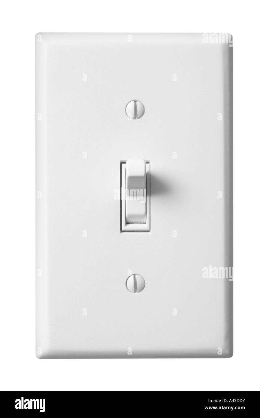 Light switch ON cut out on white background Stock Photo: 10920950 ...