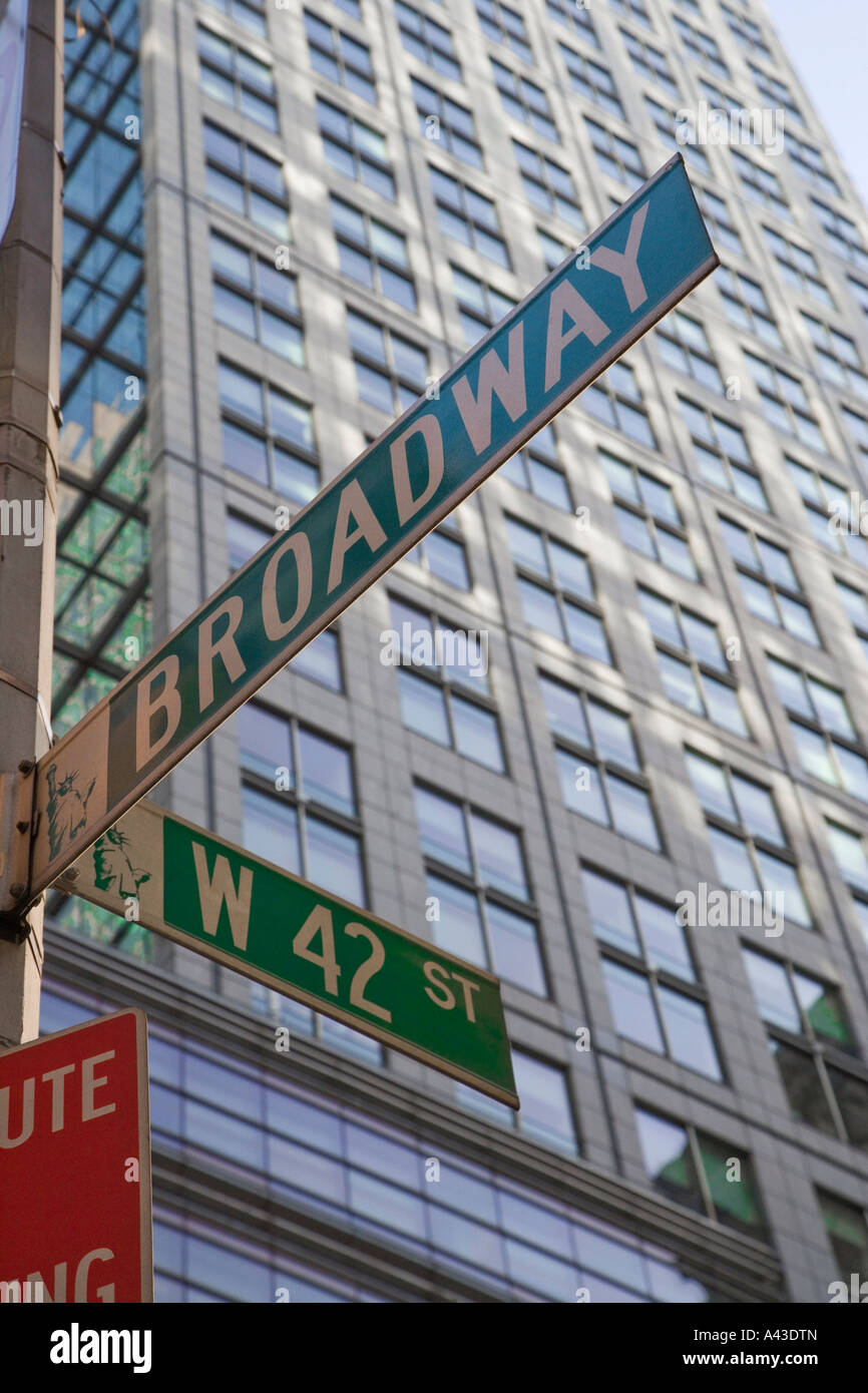 broadway and 42nd street sign in manhattan new york Stock Photo