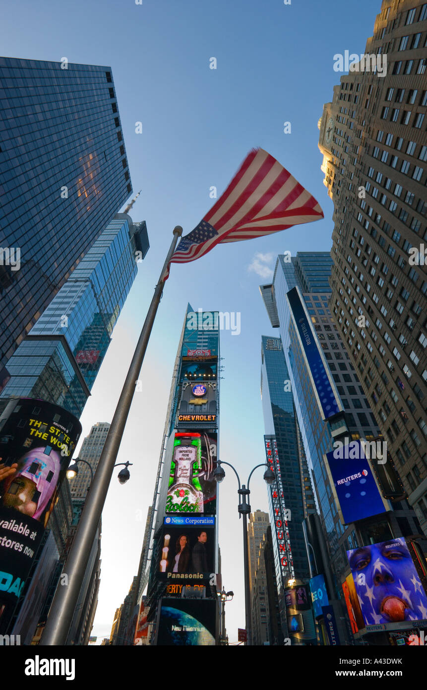 stars and stripes at times square manhattan new york Stock Photo