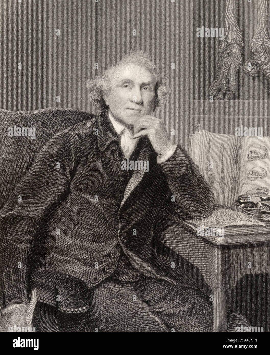 John Hunter 1728 to 1793 Scottish surgeon founder of pathological anatomy in England - Stock Image