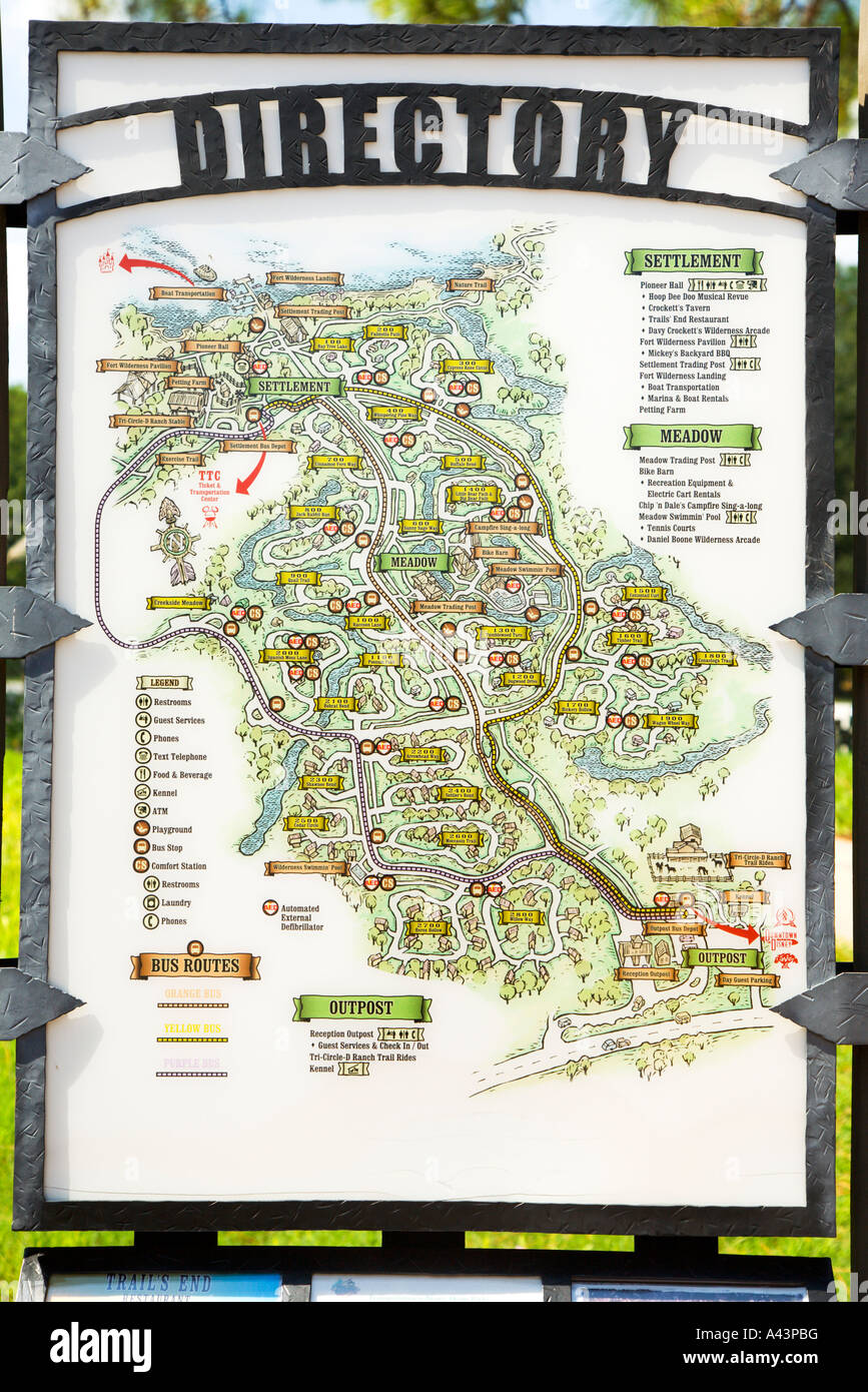 Directory map of Fort Wilderness Camping Resort in Disneyworld Stock on