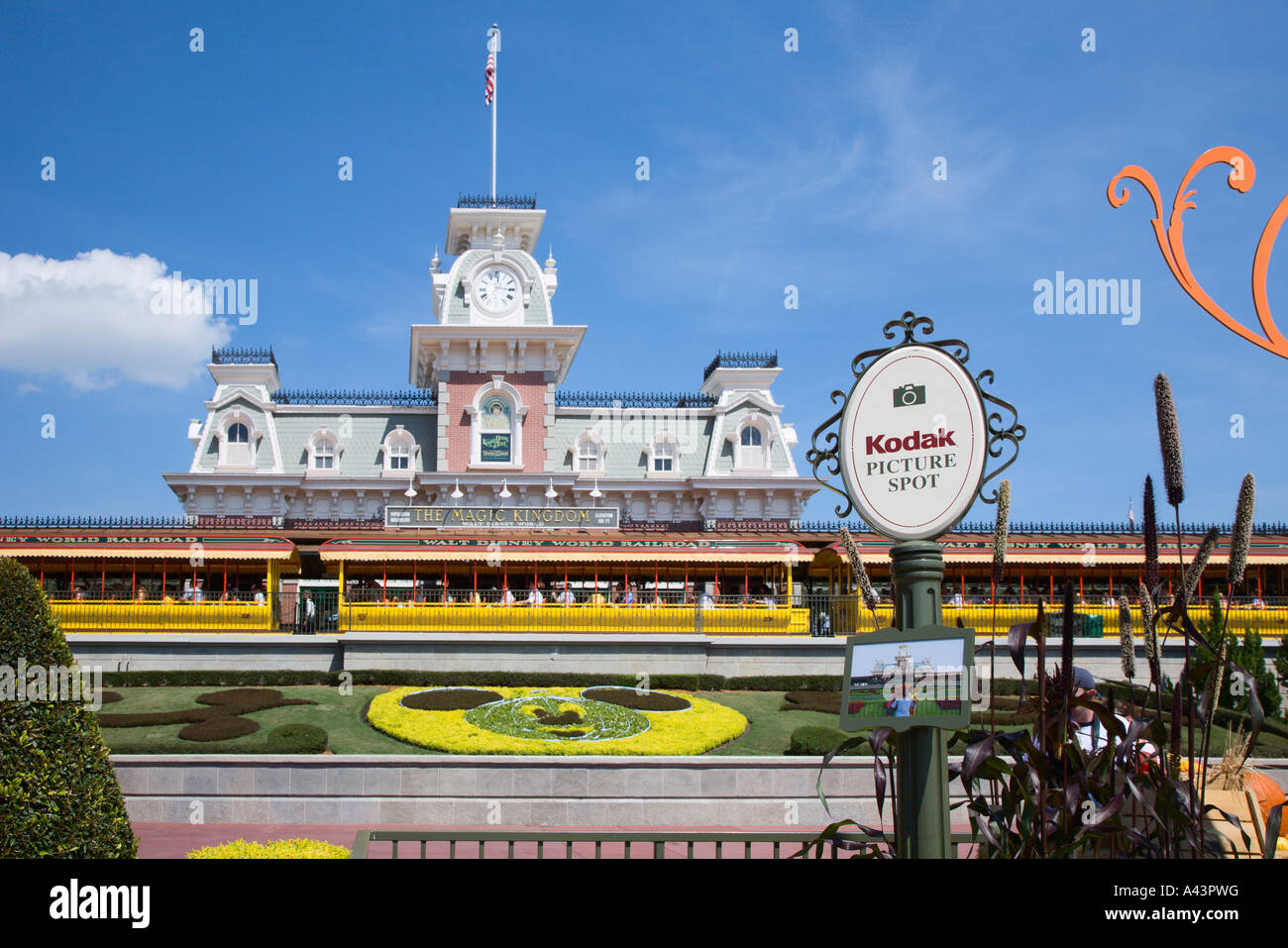 Kodak Picture Spot sign shows park guests best photo opportunities Stock Photo