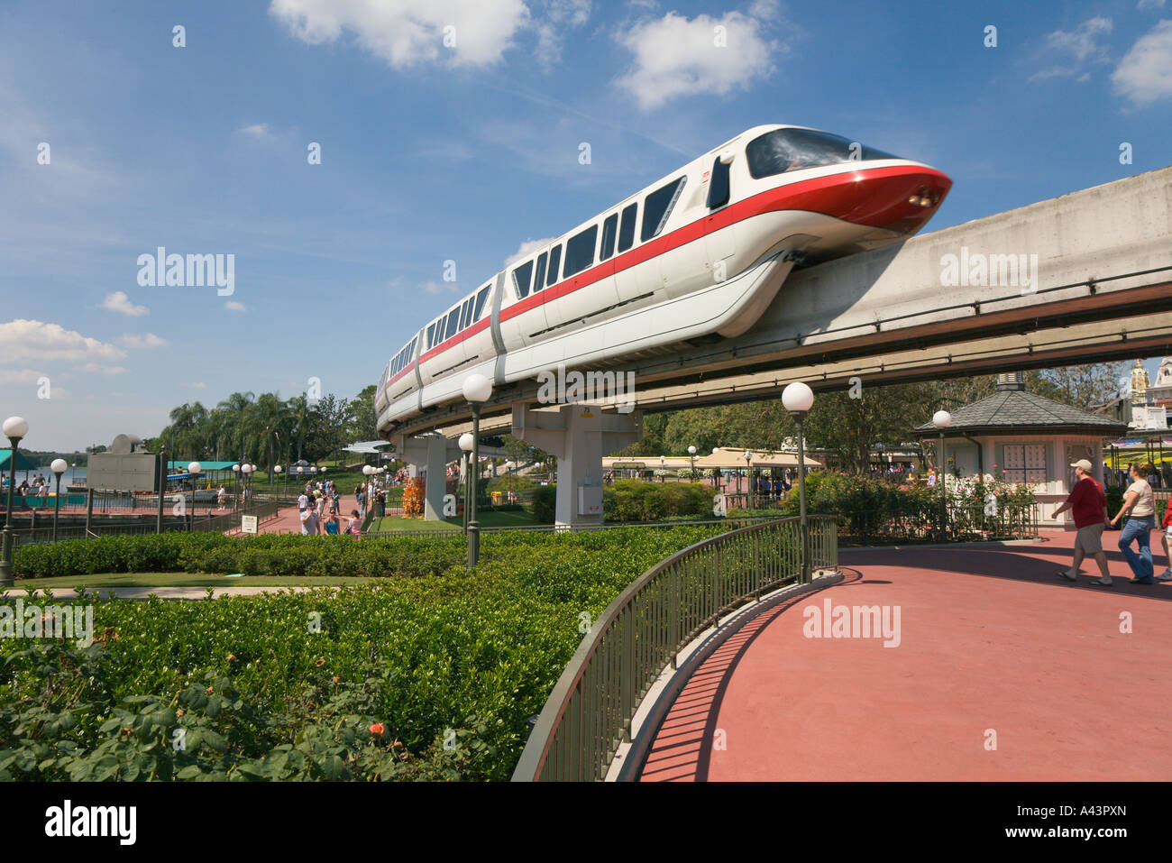 Monorail transports park guests between parks and hotels at Walt Disney World, Florida, USA - Stock Image