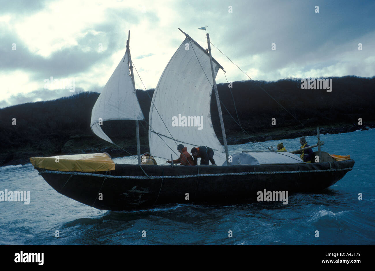 Tim Severin The Voyage of Brendan the Navigator 1976 sailed to North America in a leather boat. HOMER SYKES - Stock Image