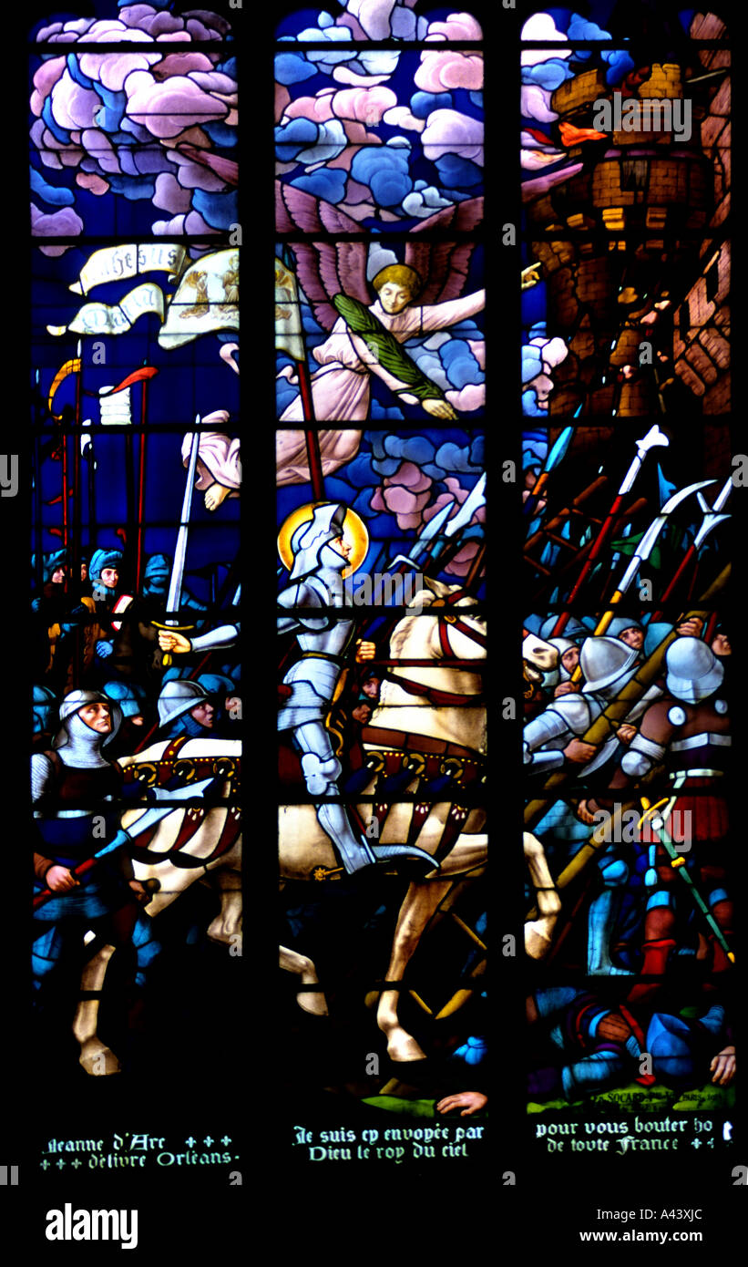Avallon Church St Nazaire  leaded Window knight - Stock Image