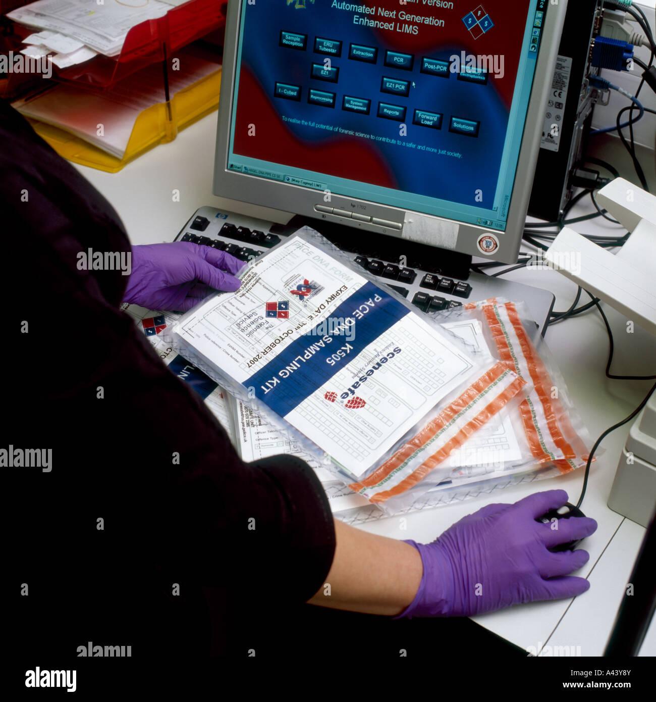 DNA sample test packs at the the United Kingdom National DNA Database - Stock Image