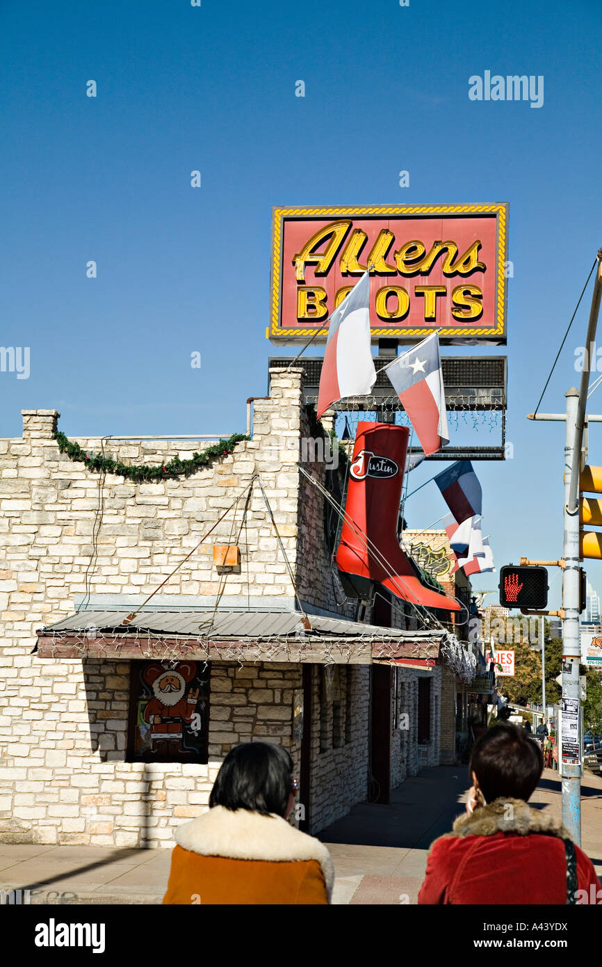 64a642ad740 TEXAS Austin Oversize cowboy boot and Lone Star state flags at Allens Boots  store on South