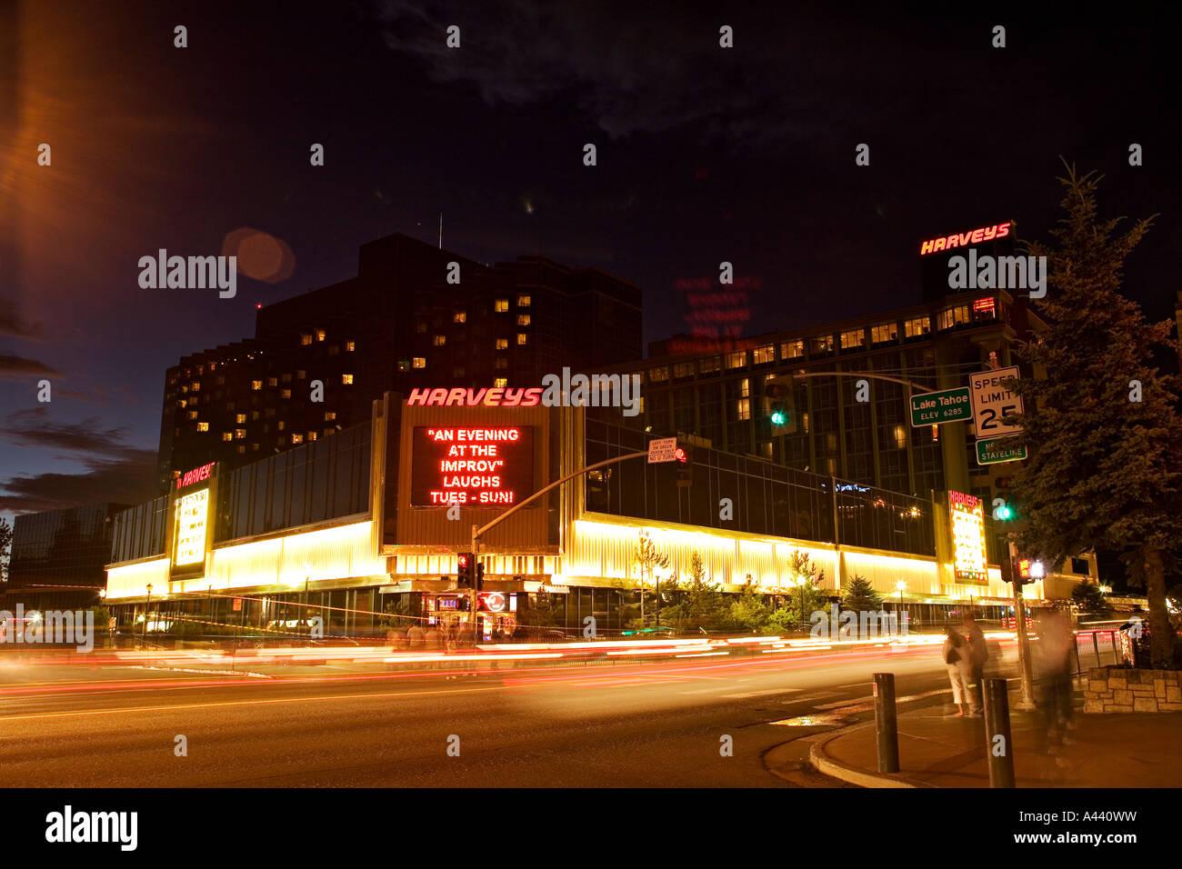 California Lake Tahoe Harveys Casino At Night Blurred Lights