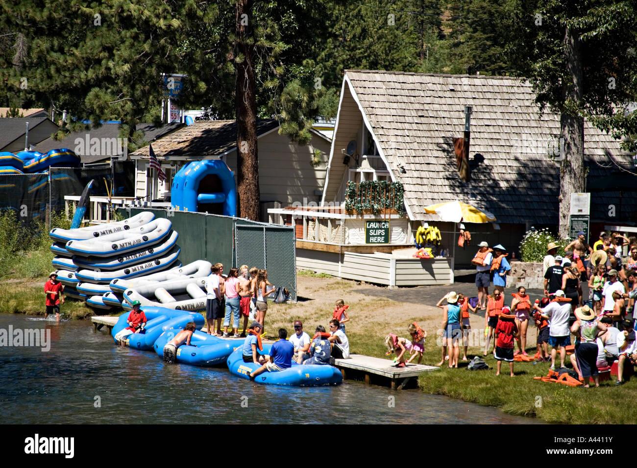 california lake tahoe crowd of people put on life vests before stock