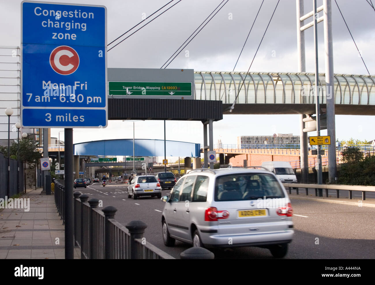 Congestion Charge sign by the Limehouse Link Tunnel Docklands London UK - Stock Image