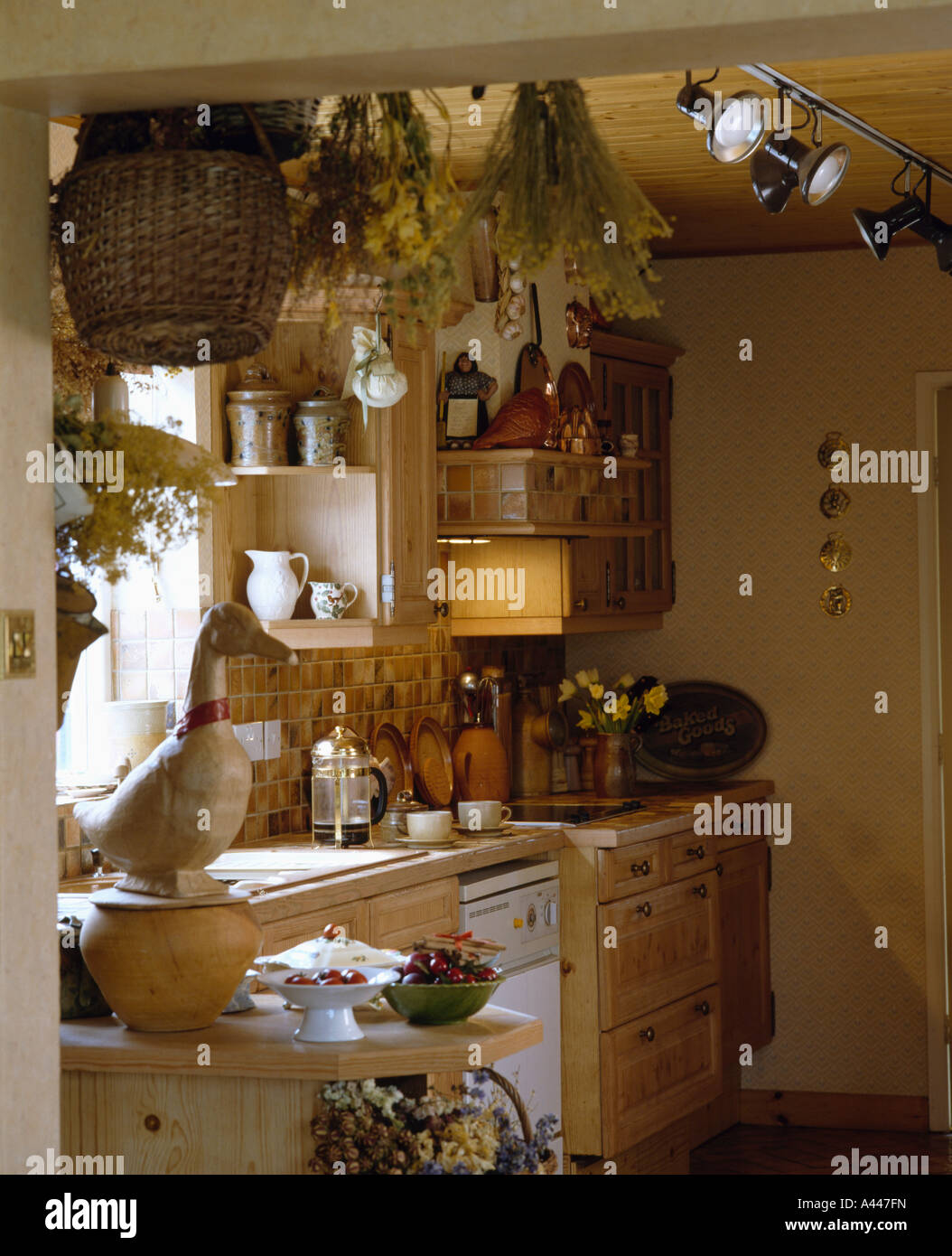 kitchen ceiling spot lighting. Small Cottage Kitchen With Dried Flowers On Ceiling And Spot-lights Spot Lighting K