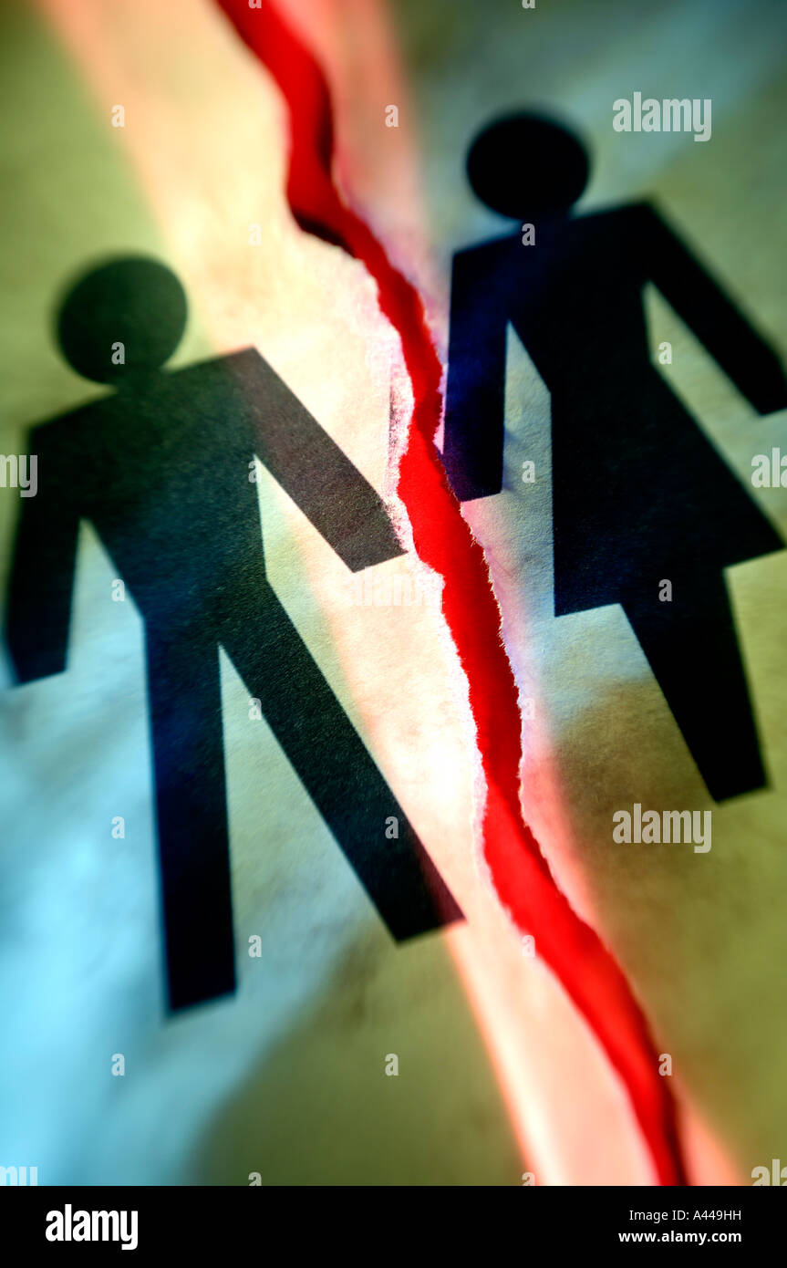 Man woman divorce concept - Stock Image