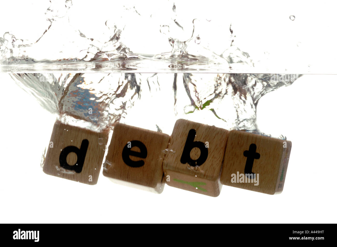 Drowning in debt Stock Photo