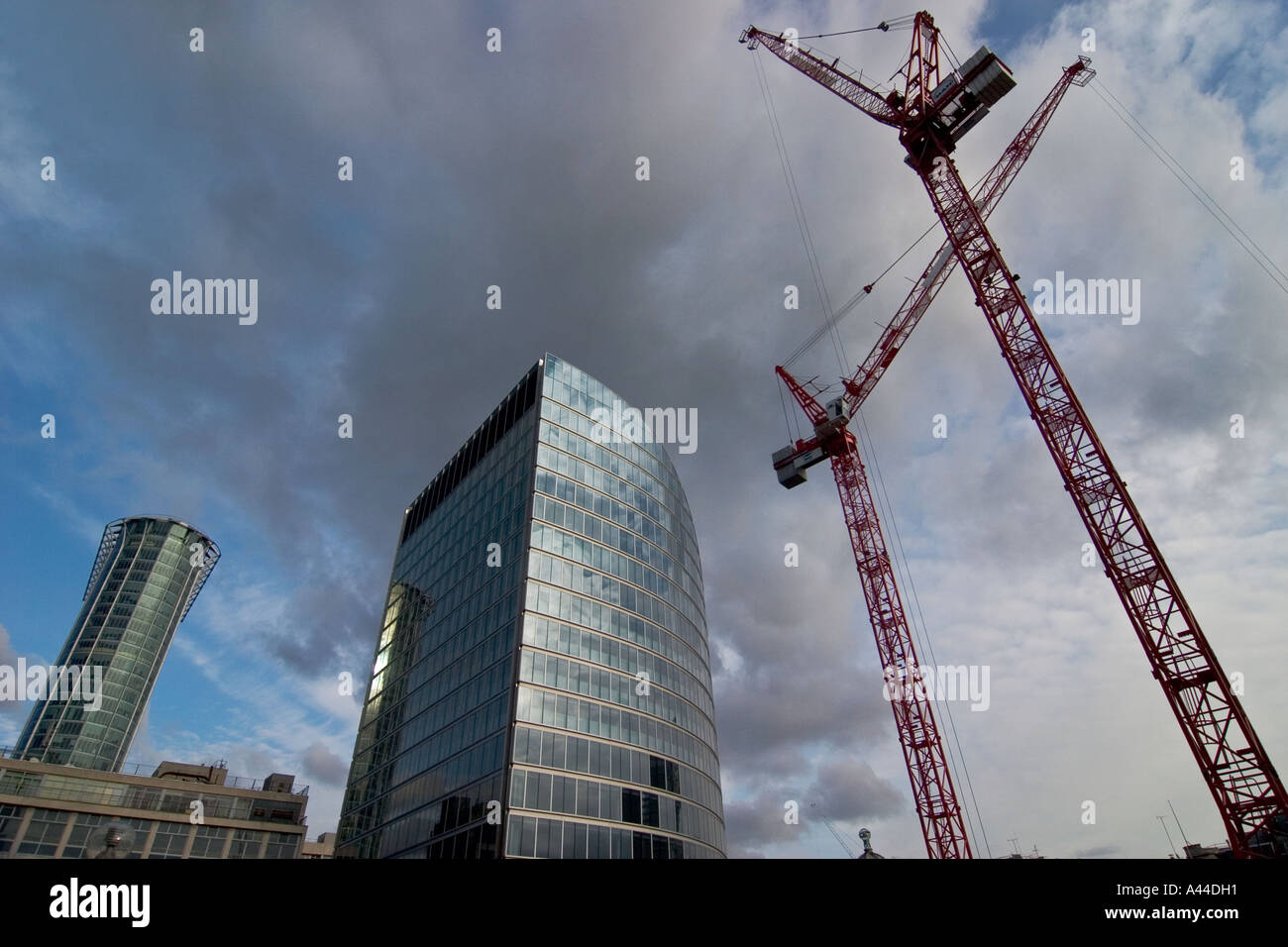 Construction site on London Wall near Moorgate with Citypoint, left, and Moor House, centre, London - Stock Image