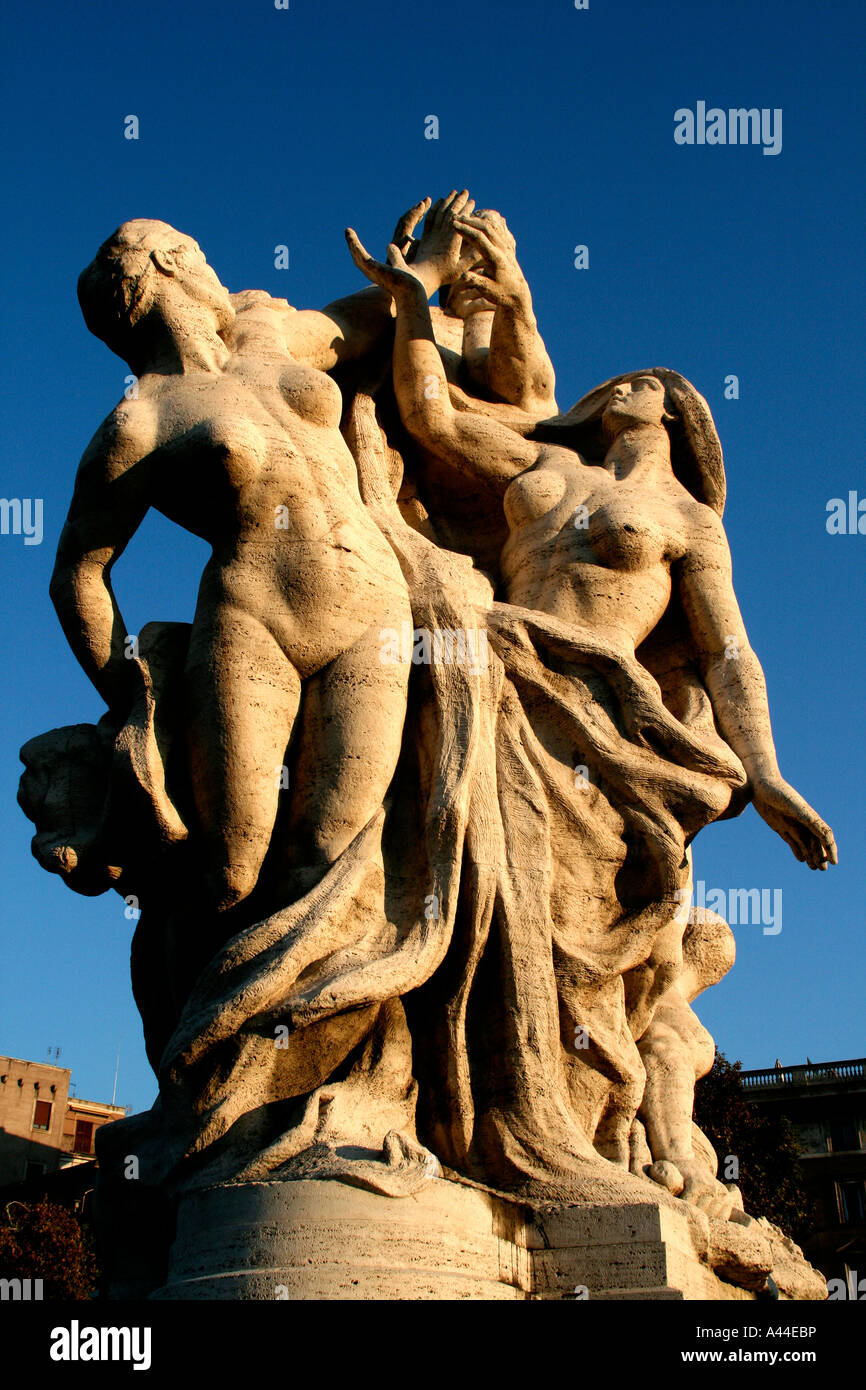 A Bernini sculpture on the Pont Sant Angelo Rome Italy - Stock Image