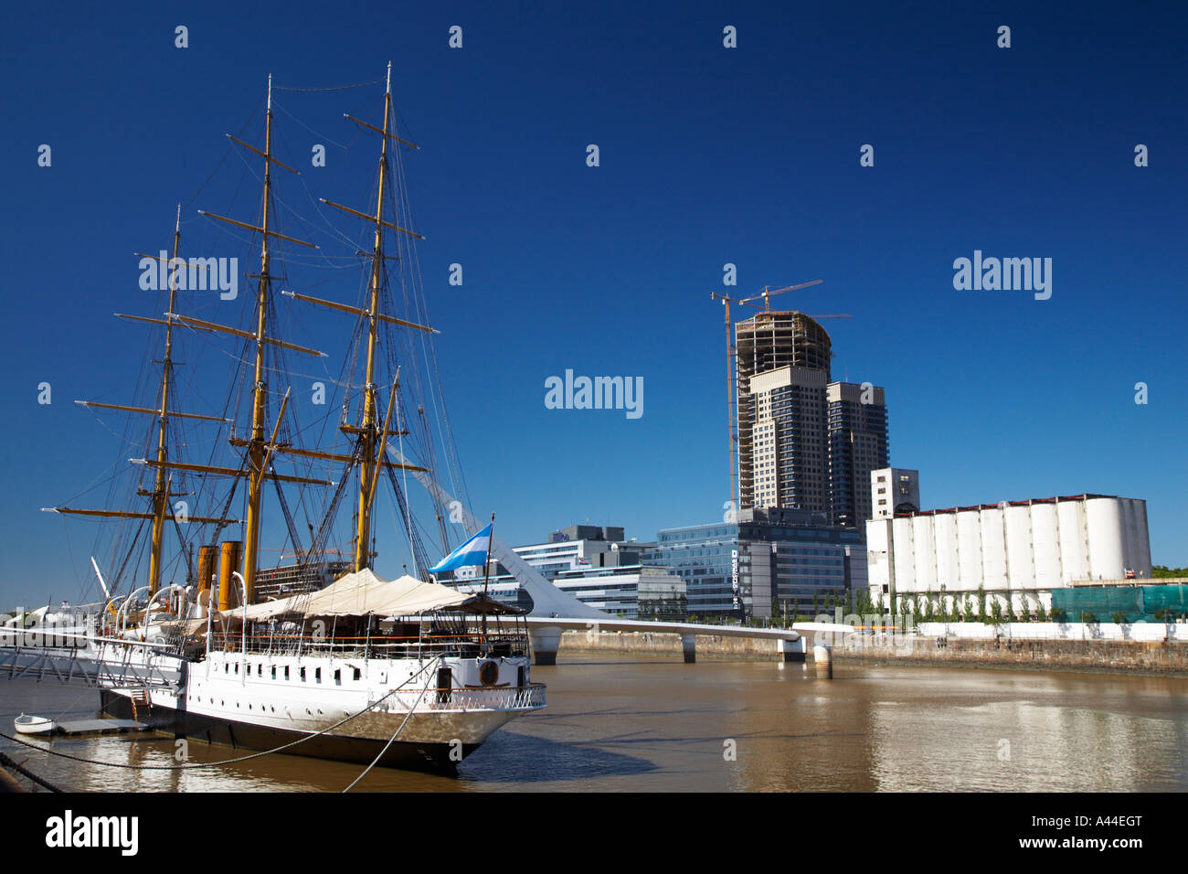 Argentina Buenos Aires Province Buenos Aires Fragata Sarmiento an historic saling ship moored on the dock side of - Stock Image