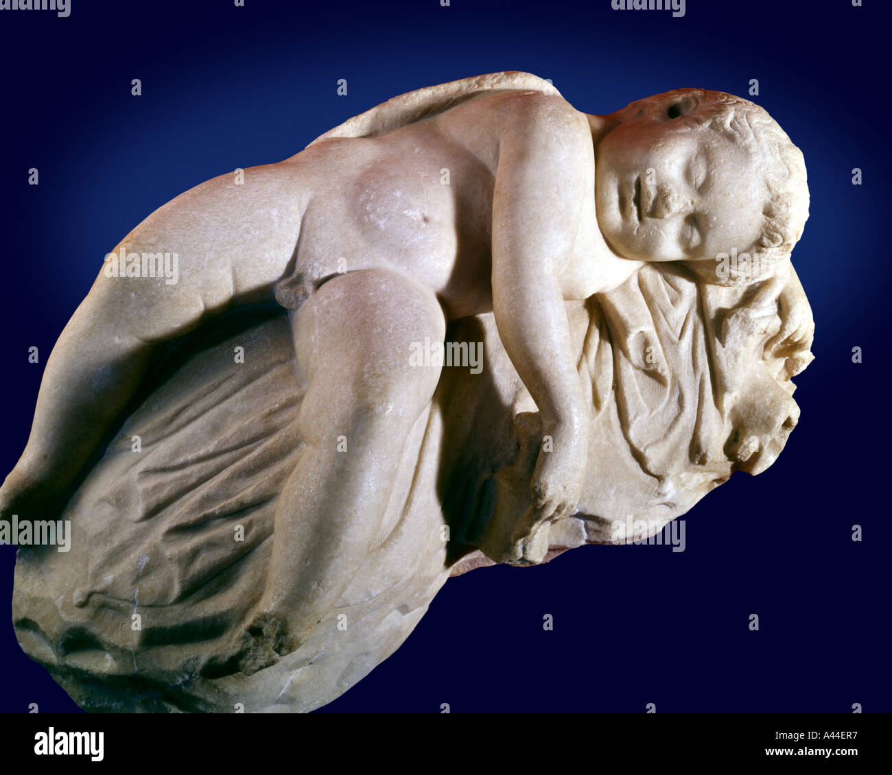 CY - NICOSIA: Marble Statue of Sleeping Eros at the Cyprus Museum - Stock Image