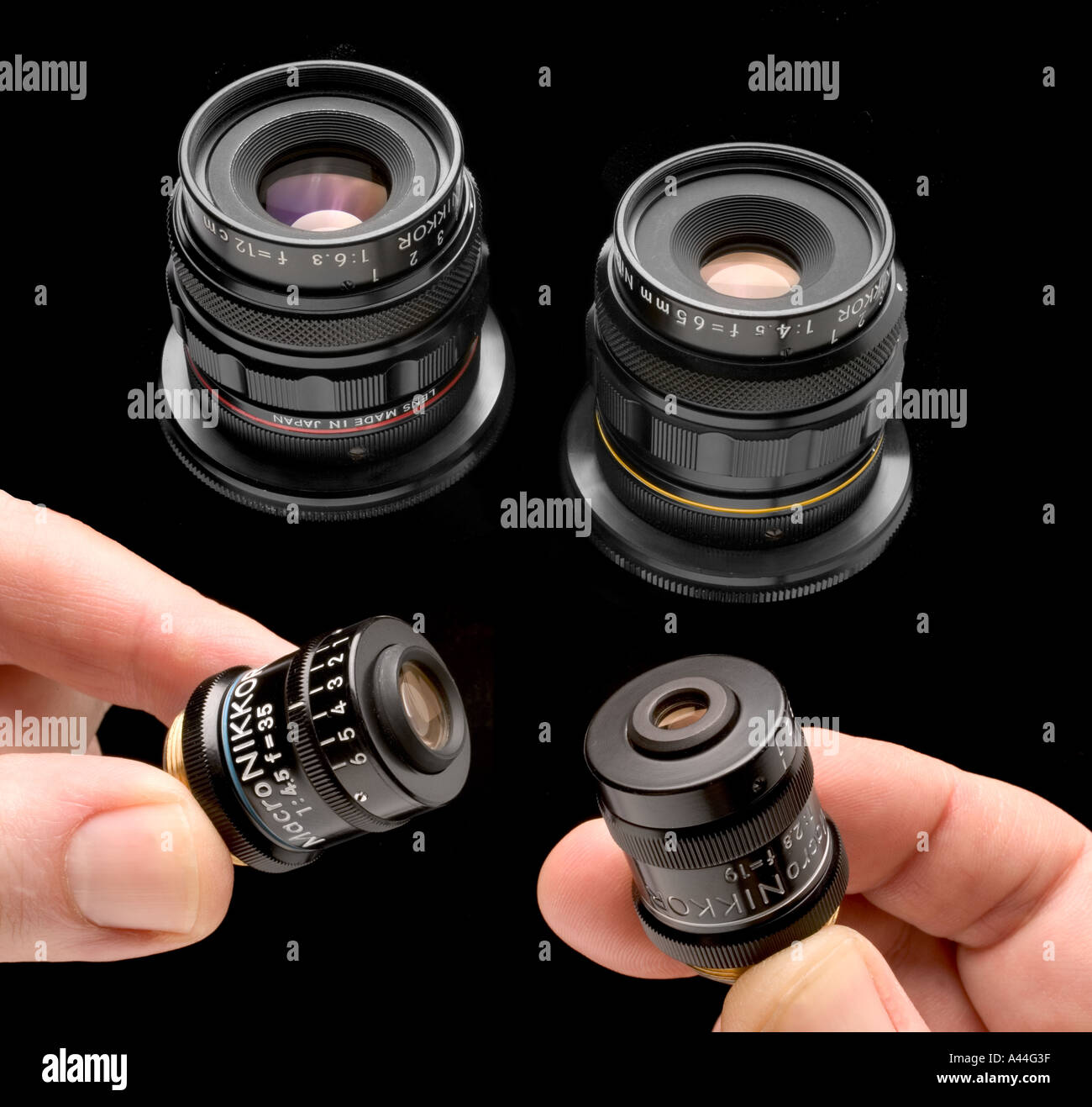 Nikon macro lenses from the Multiphot macro photography system 19mm 35mm 65mm 120mm lenses - Stock Image