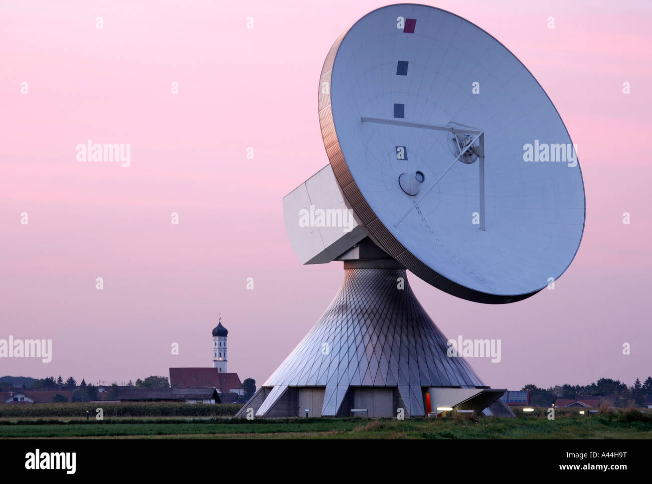 Germany Bavaria big satellite dishes near the town of RAISTING Stock Photo