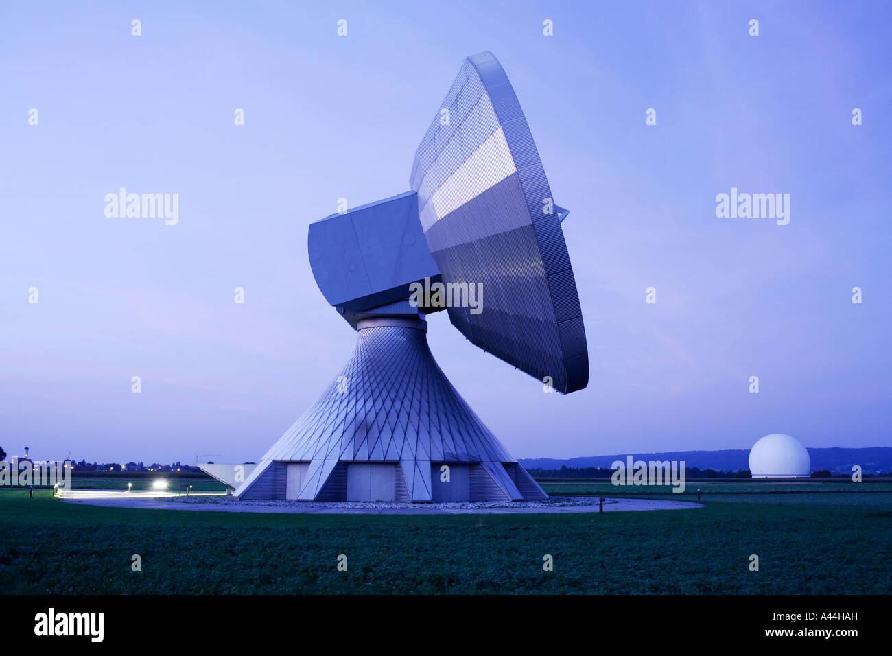 Germany, Bavaria, big satellite dishes near the town of RAISTING Stock Photo