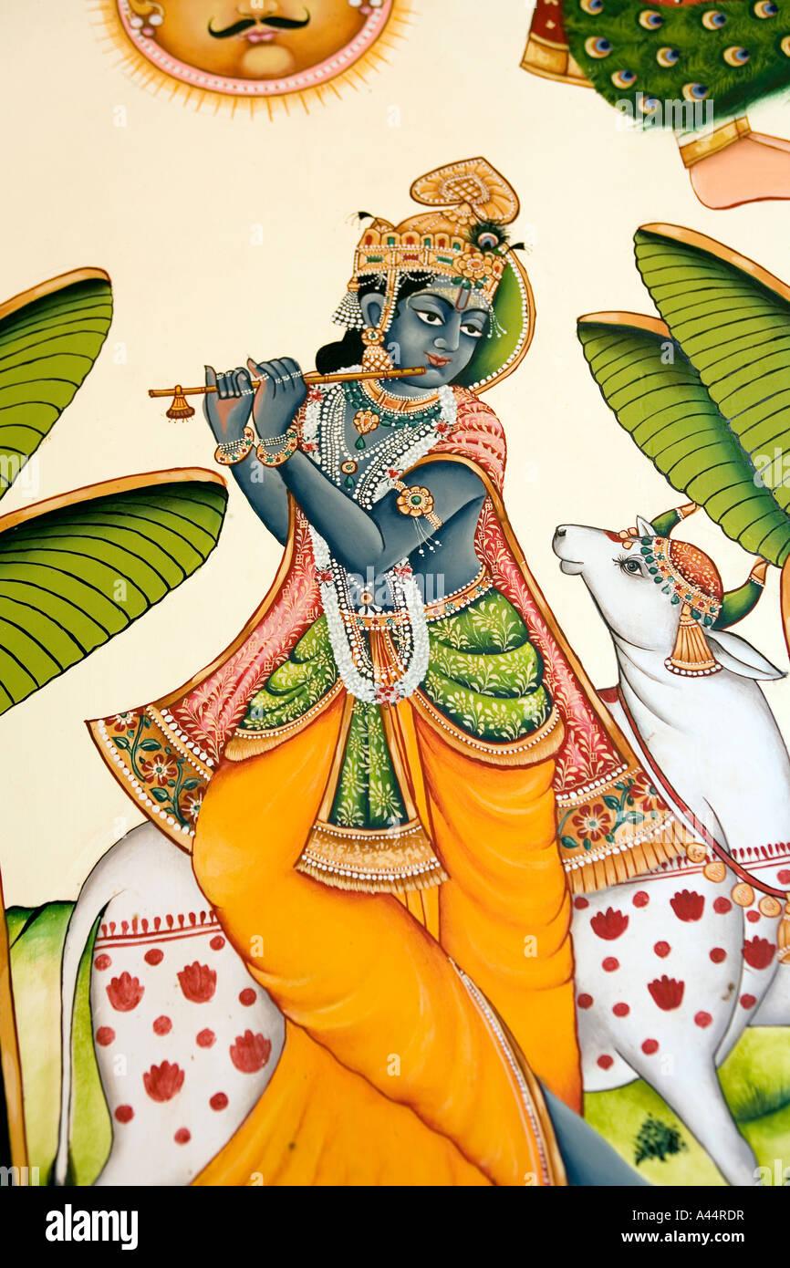 India Rajasthan Kota Palkiya Haveli modern high quality wall painting of Krishna playing flute - Stock Image