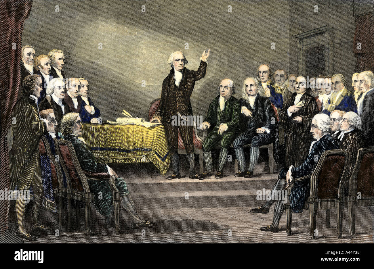 Constitutional Convention 1787 with George Washington presiding over the  debate. Hand-colored steel engraving