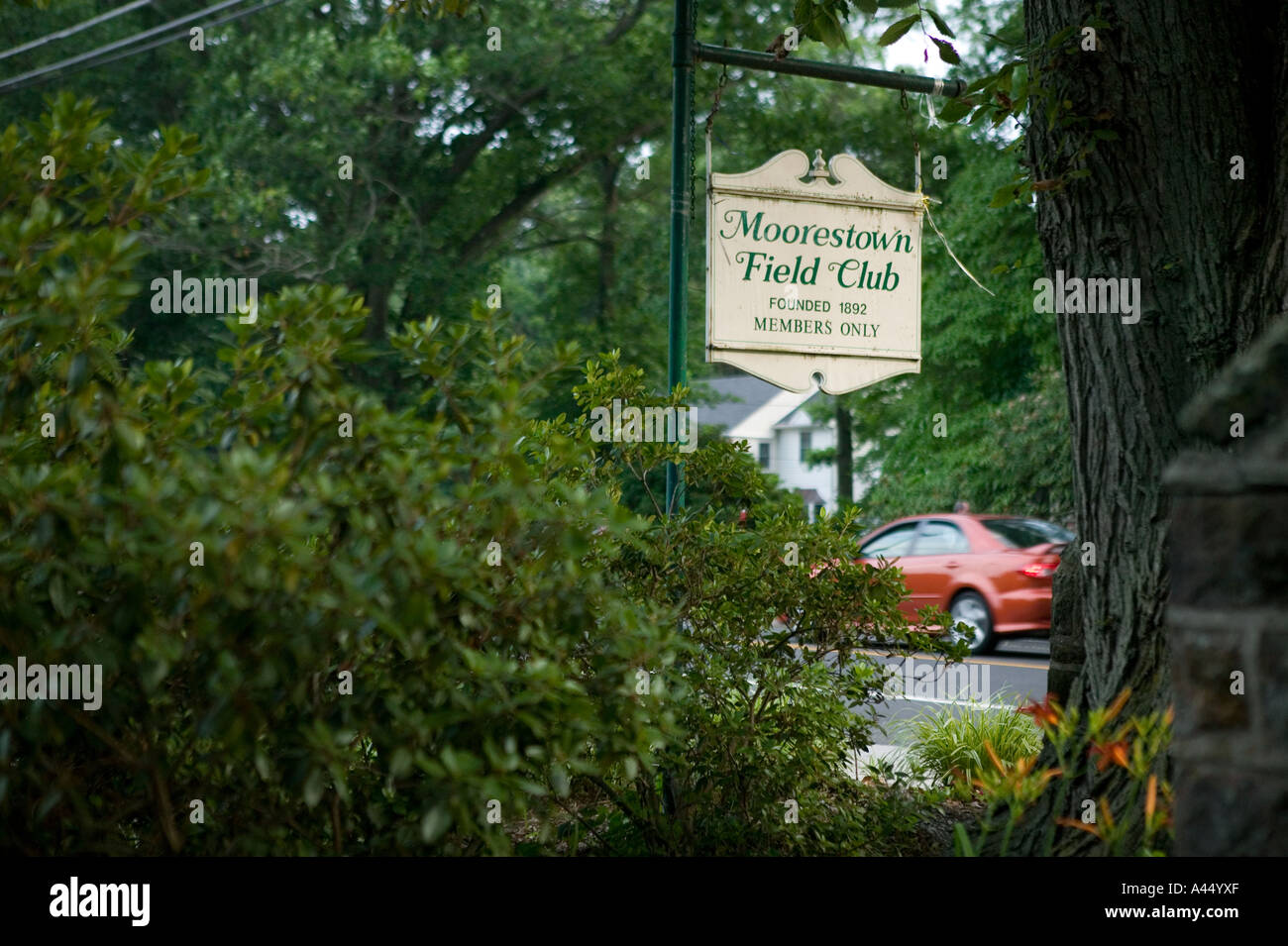 View Of A Sign At The Entrance To Members Only Moorestown Field Club In New Jersey USA July 2005