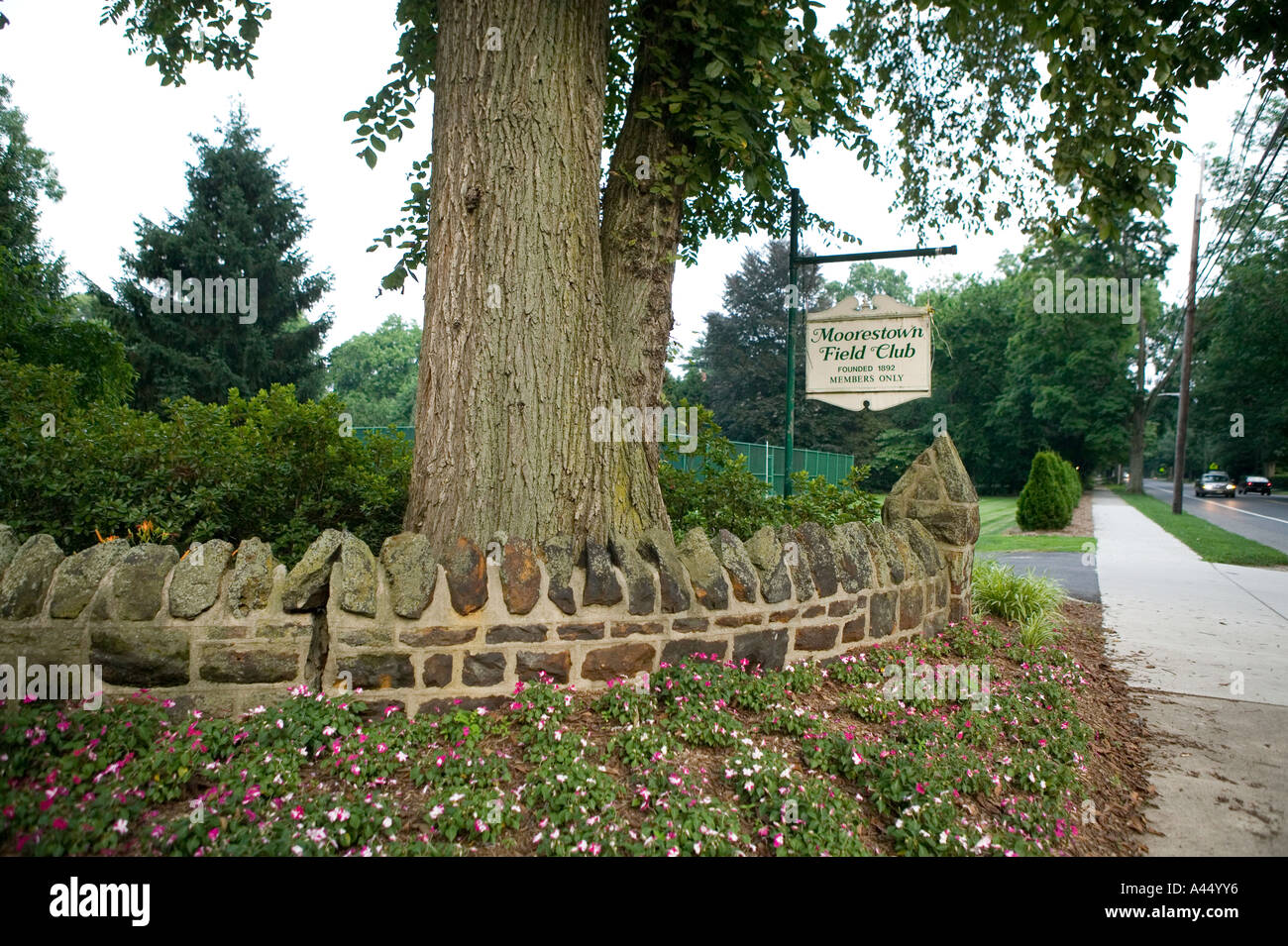 View of a sign at the entrance to the members only Moorestown Field Club in Moorestown New Jersey USA July 2005 - Stock Image
