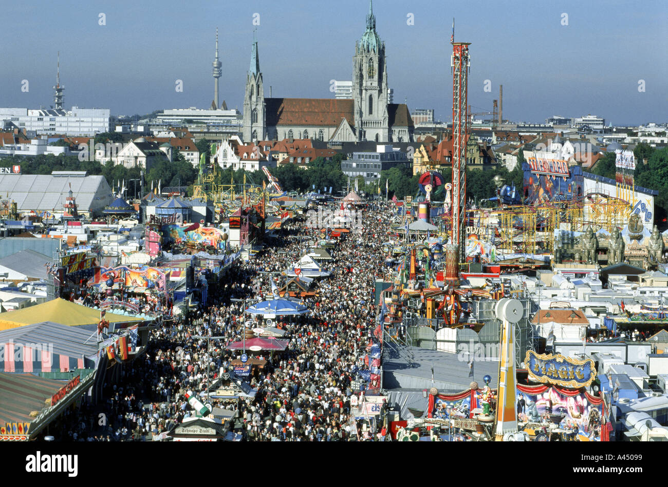 at the oktoberfest munich view down the wonder wheel bar cultural culture dine dining dinner drink drinks drinking eat  - Stock Image