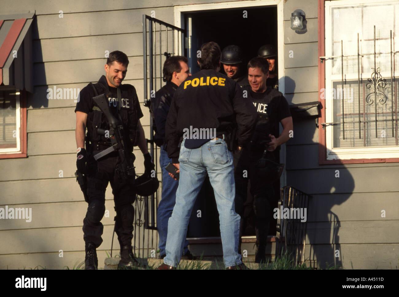 Police SWAT TAC Team after serving search warrant  Kansas